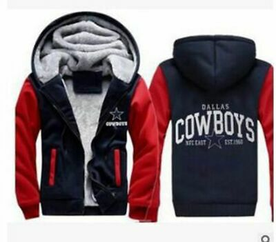 NEW Men's Dallas Cowboys Hoodie Zip up Jacket Coat Winter Warm