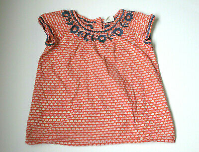 Mini Boden Girls Top Red Floral Navy Blue Embroidered Size 7-8 Y