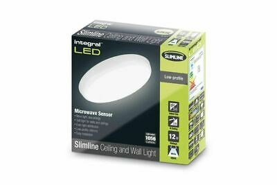 Integral LED Slimline Ceiling Light IP54 12W 1056Lum 4000K Microwave Sensor
