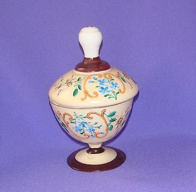 Antique Sugar or Candy Dish bowl, Milk Glass, Hand Painting