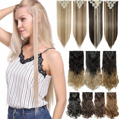 UK Full Head Clip in 100% Natural Hair Extensions as Human Long Thick Straight H