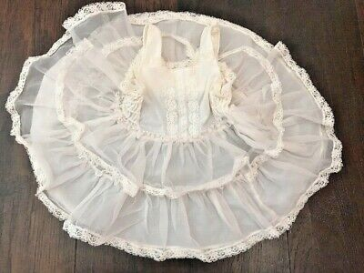 Vintage Baby Girls That Magic Fit White Lace Ruffle Slip Dress Sheer 24 Month T1
