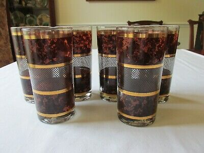 (6) SIGNED GEORGES BRIARD 1960s BROWN TORTOISE PATTERN HIGHBALL TUMBLERS 5 1/2""
