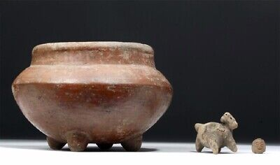 """Pre Columbian Orange Bowl with 4 legs, almost 8"""" x 5"""" Michoacan, 2 other items"""