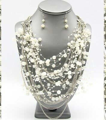 Statement Silver Metal Chain Layered Multi Row White Pearl Beaded Vahin Necklace