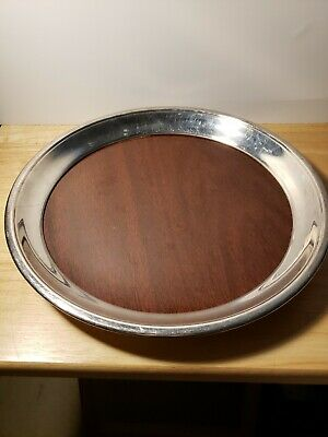 """Vintage Westinghouse Micarta FB Rogers Silver Co. 12"""" Round Bar Cocktail Tray"""