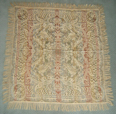 """Vintage Tablecloth Antique Woven Tapestry Piano Scarf with Fringe ~ 54"""" x 51"""""""