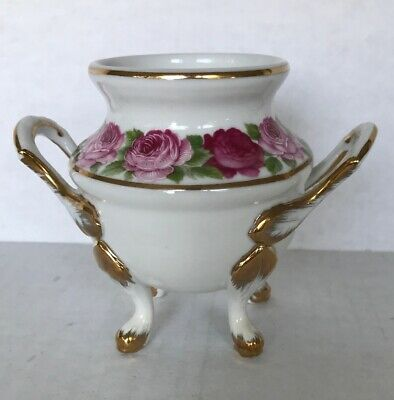 "Large Vintage 4 footed Sugar Bowl, Double Handled, Floral, Gold 4-1/2"" Height"