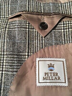 Peter Millar Wool Cashmere Sport Coat Black White Blue Check Mens 44T Tall Vgc!