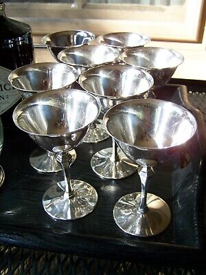 RARE ART DECO PAIRPOINT SILVER BARWARE MARTINI COCKTAIL GOBLETS BAR SET of 8