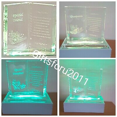Glass Crystal Ornaments Book Gift Set Poem Lovely Gift Xmas Birthday