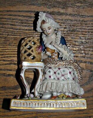 antique 19th dresden porcelain hp figurine girl feeding bird lace cage flowers +