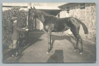 Farm Boy w Shiny Black Beauty Horse RPPC Antique Barn~French Photo 1920s