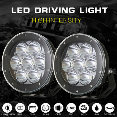 Cree 7inch LED Driving Lights Pair Round Spot Offroad 4x4 Work SUV Spotlight Ute
