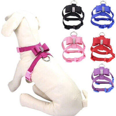 Bling Rhinestone Pet Puppy Dog Harness Velvet  Leather Leash for Small Cat