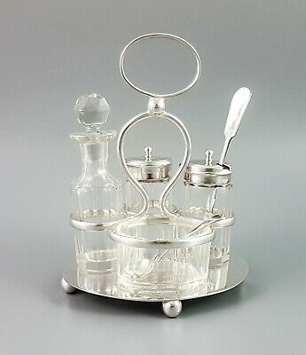 Victorian silver plate 4 cut glass bottle condiment cruet set mustard vinegar