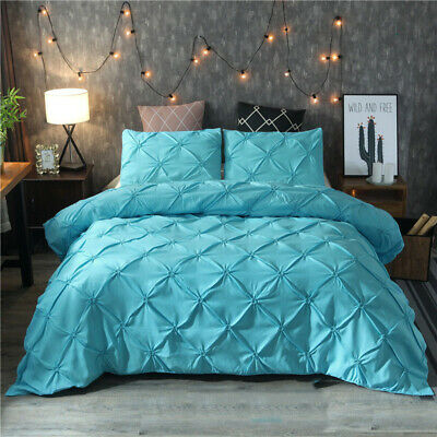 Alexander Pin tuck Duvet/Quilt Cover Poly Cotton Bedding Set Single Double King
