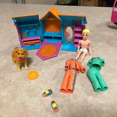 Polly Pocket dog kennel-dog-doll-clothing set-good used condition