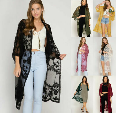 Women Lace Open Front Embroidered Beach Cardigan Long  Sleeve Jacket Midi Kimono