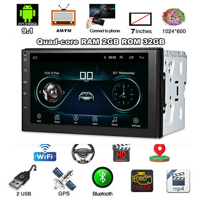 "7"" Auto Stereo Radio MP5 GPS Navigation 2DIN Android 9.1 2GB +32GB Bluetooth 12V"