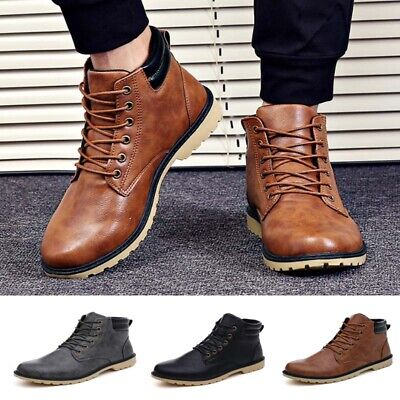 Mens Combat Boots Autumn Winter Lace Up High Top Hiking Walking Ankle Shoes Size