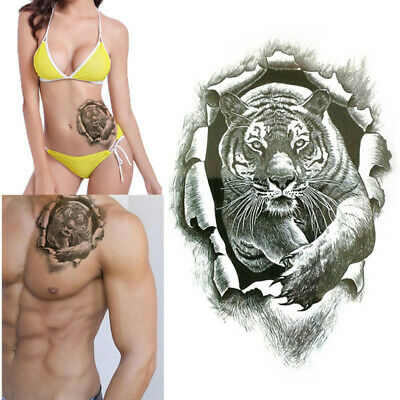 Autocollant De Tatouage Temporaire Tiger Burst 3D Réaliste Étanch Tattoo Sticker