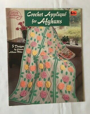 """Crochet Applique for Afghans"". blanket or throw instruction & pattern book"