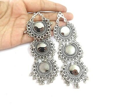 India Earrings Traditional Afghan Mirror Silver Oxidized Bollywood Style Jewelry
