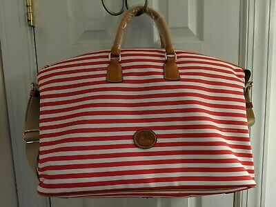 Dooney & Bourke red striped leather trim sullivan weekender nip ret $368 rare