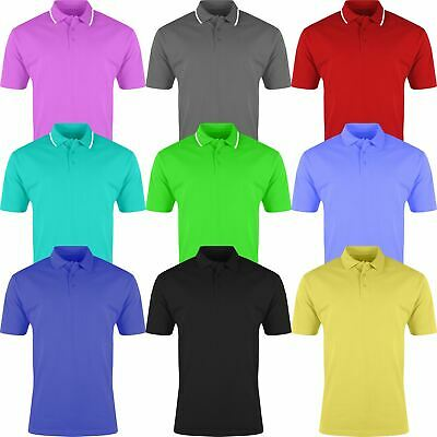 Mens Polo Shirt Plain Shirts Pique Tee New Golf Work Casual Cotton Blend S-4XL