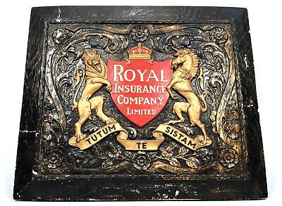 Antique Large Plaster Royal Insurance Company Fire Mark Sign / Plaque