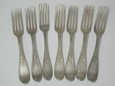 1865 Wm Rogers Silver Plate 7 Dinner Forks Olive Pattern 19th C