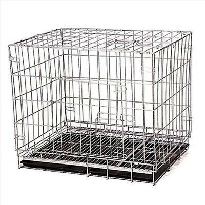Black Pet Folding Suitcase Dog Cat Crate Cage w/Divider Kennel Pen w/Tray LC