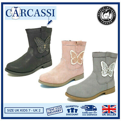 Kids Childrens Girls Sparkly Butterfly Pink Grey Black Ankle Boots Size 7-2