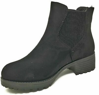 Womens Ladies Teens Girls Ankle Chelsea Black Faux Suede Boots Size 3-8