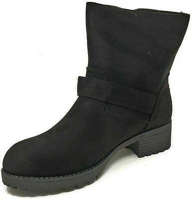 Womens Ladies Teens Girls Ankle Buckle Black Faux Suede Boots Size 4-8
