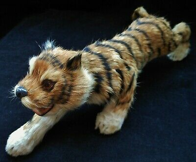 Vintage Real Rabbit? Hair Taxidermy Tiger In Action Statue Figurine Miniature