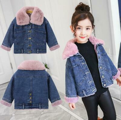 Kids Girls Winter Warm Fur Collar Fleece Lined Denim Jean Jacket Parka Coat New
