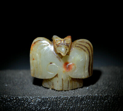 """Stunning Chinese Ancient Jade Carved Eagle Shaped Statue Amulet Pendant 1.81"""""""