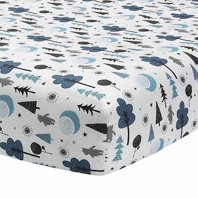 Disney Baby Forever Pooh White/Blue Bear Fitted Crib Sheet by Lambs & Ivy