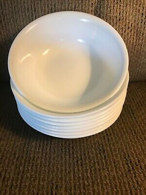"""Eight (8) Corelle Winter Frost White 6 1/4"""" Cereal Bowls"""