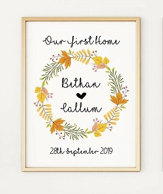 New Home First Home Personalised Gift Keepsake A4 Poster Print PO249