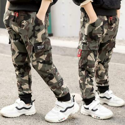 Kids Boys Winter Camouflage Joggers Jogging Cargo Sweat Pants Casual Trousers