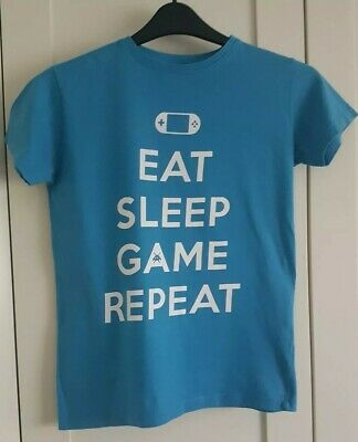 Boys Urban Outlaws Blue Eat Sleep Game Repeat T-Shirt age 11-12 years