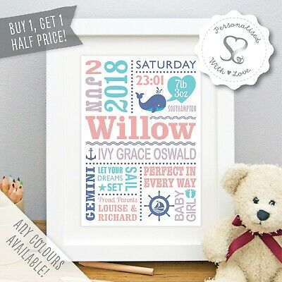 Personalised New Baby Print Boy Girl Birth Details Nautical Whale Nursery Art