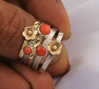 AAA Amazing Red Coral Gemstone Ring,Handicraft Ring,925-Antique Silver Ring A15