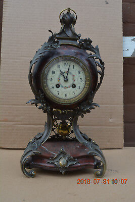 Lenzkirch Fireplace Clock Red Marble Bronze um 1900 Fantastic Decorations Top
