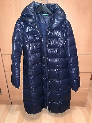 Benetton Longline Puffer Coat Navy Blue Size UK XL Age 10-11years