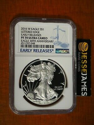 2016 W Proof Silver Eagle Ngc Pf70 Ultra Cameo 30Th Ann Early Release Blue Label