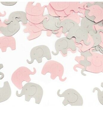 Pink & grey Elephant Confetti Elephant Scatter Baby Shower Decoration 100 pieces